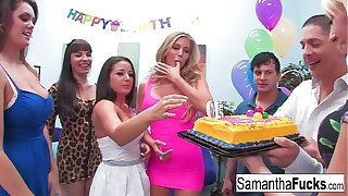Samantha celebrates her holy day with a wild crazy orgy