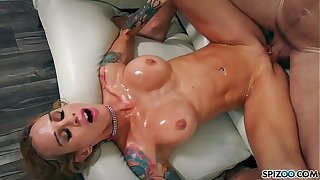 Spizoo - Sarah Jessie oil up together with win fucked by a big dick