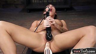 Gorgeous babe machine fucked until orgasm