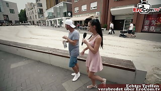 Germa skinny milf picks up guy on street at Toss