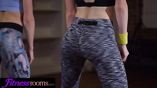 Fitness Rooms Flexible lesbian Alecia Fox and redhead