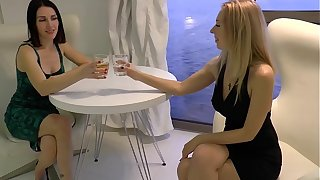Two hot wifes have fun dimension their husbands are occurring