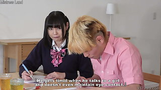 Japanese schoolgirl who seduces a virgin tutor and makes her