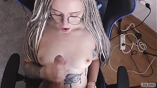 Sexy student sweeping in glasses sucks big Hawkshaw