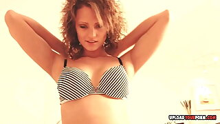 Curly-haired babe loves to make me cum