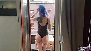 Flame Jade public sex on a balcony