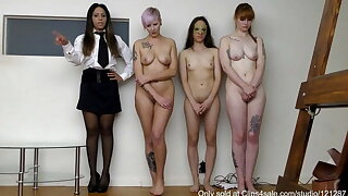 3 beautiful girls caned and strapped. (Shot close to 4K)