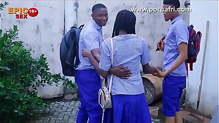 Outdoor Threesome with horny Secondary crammer girl behind crammer hostel (trailer)