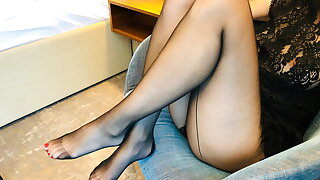 Hot The worse for wear Tease in Black Pantyhose