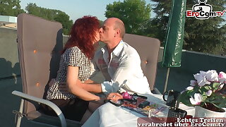 German mature private couple ambiance in love and fuck outdoors