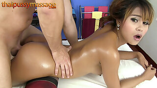Thai cutie gets a kneading then gets fucked alien behind