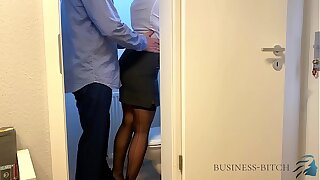 big cheese meets secretary on the office restroom - business-bitch
