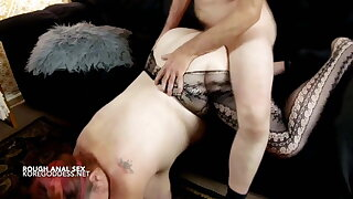 Huge tits woman receives a rough anal fucking