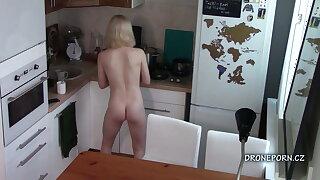 Blonde teen Maya - Naked and cooking