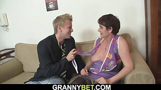 60 year elderly granny on touching stockings rides his big dick