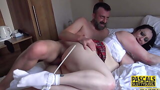 Bound broad in the beam submissive girl with big boobs