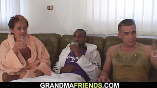 Her old mommy is used by two big-cocked dudes