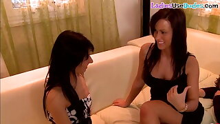 Dominant euro babes pegging and smothering sub