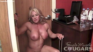naked, masturbating her beamy 2-inch clit