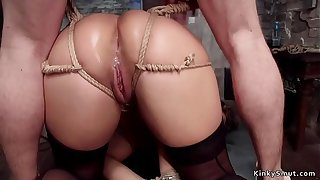 Gagged servant trainee anal fucked