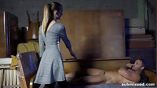 Headed guys gets spanked coupled in mistreated in a wet blowjob