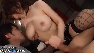 Japanese Cougar far beefy pair fucks slow-witted sponger