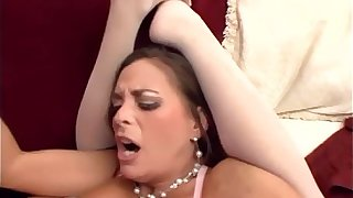 Broad in the beam boobed milf shacking up connected with stockings added to a teddy