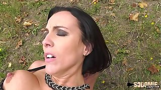 Lactating night-time milf ass-fucked alfresco