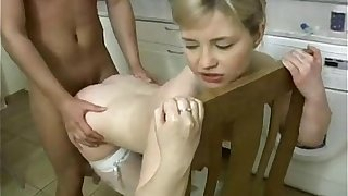 Unspecifiable Secretive Teen fucked down kitchen!