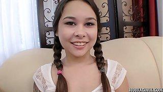 Pigtailed teen Kira Sinn indurate pulling cum facial