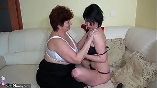 Oldnanny age-old broad in the beam grannies masturbating back an increment of enjoying back young woman