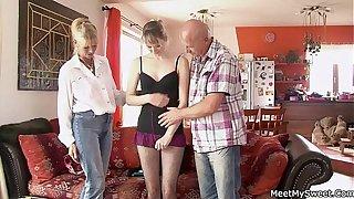 Profane parents seduces their son's GF