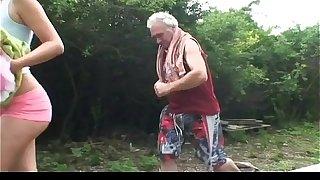 Grandpa gets unintended surrounding cosset