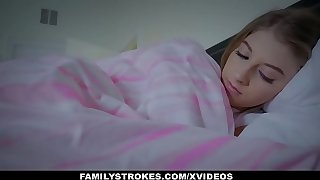 FamilyStrokes - Cuddling plus Shafting Regretful Stepdaughter Space fully Spliced Sleeps