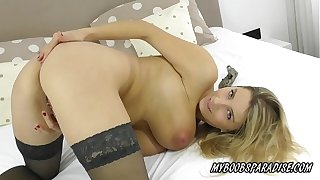 Busty MILF masturbate up chap-fallen lingerie