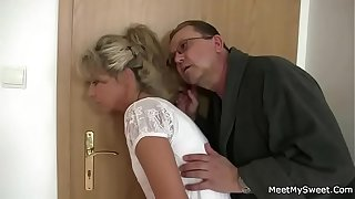 Parents trick their son's GF into 3some copulation