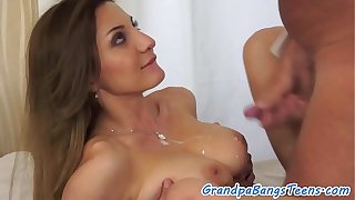 Eurobabe fucks grandpa who cums on her tits