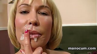 Big boobed MILF giving tugjob in POV added to taking a jizz shot at